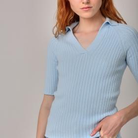 Лёгкая вязанная блузка Поло цвета Голубого неба